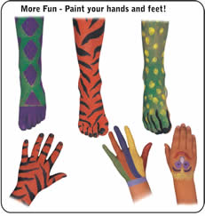 Face Paint your hands and feet