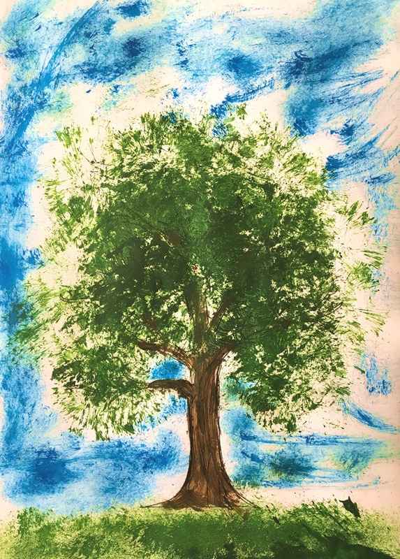 Paint a tree with tempera paint and a dishwashing brush